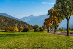 Autumn view in Burgusio, Trentino-Alto Adige, Italy. Autumn in Burgusio - Vinschgau, Italy stock photos