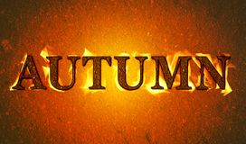 Autumn burning banner. Illustration with autumn text burning isolated on a red textured background Royalty Free Stock Photography