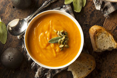 Autumn Butternut Squash Soup caseiro Fotografia de Stock Royalty Free