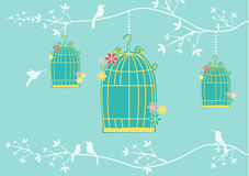 Autumn with cages and birds on green backgrounds,Vector illustrations Stock Photos