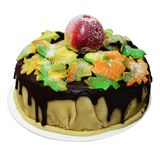 Autumn cake with maple leaves and apple Stock Images