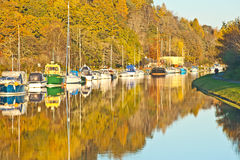 Autumn on Caledonian Canal. At Dochgarroch showing boats and yachts at their moorings Stock Images