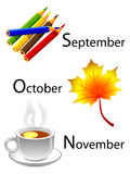 Autumn calendar - september, october, november. Typicla objects of autumn calendar Royalty Free Stock Photography