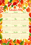 Autumn calendar template with fall leaf frame Stock Image