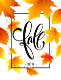 Autumn calligraphy. Background of Fall leaves. Concept leaflet, flyer, poster advertising. Vector illustration Royalty Free Stock Images