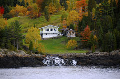 Autumn in Canada. House along Saguenay Fjord in Canada Stock Image