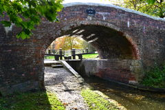 Autumn canal lock bridge Stock Image