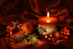 Autumn candle royalty free stock photography