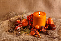 Autumn candle Stock Images