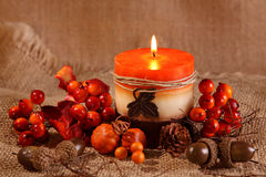 Autumn candle Royalty Free Stock Photo
