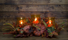 Autumn Candle Decoration Royalty Free Stock Images