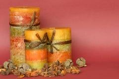 Autumn candle display Stock Image