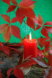 Autumn Candle Stock Photo