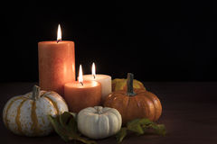 Autumn Candle Still Life Stock Image