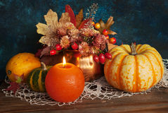 Autumn candle Stock Photography