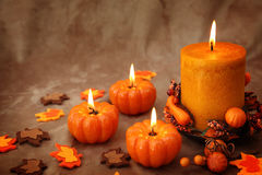 Autumn candles Stock Photos