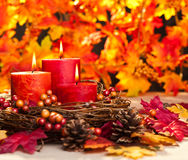 Autumn candles royalty free stock images