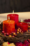 Autumn candles stock image