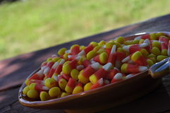 Autumn Candy Dish Filled with Candy Corn Royalty Free Stock Photo
