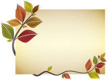 Autumn card. Card decorated with branch of autumn colorful leaves. Vector illustration vector illustration