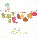 Autumn Card. With singing Bird, fruits and leaves Royalty Free Stock Image