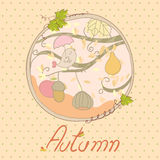 Autumn Card. Autumn theme card with circular frame and singing bird Stock Images