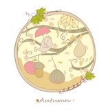 Autumn card. Circular autumn card with little bird singing Stock Photos
