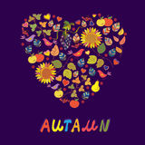 Autumn card with abstract heart of flowers Royalty Free Stock Photo