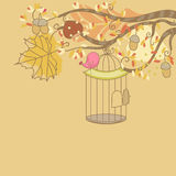 Autumn card with Bird. And birdcage Royalty Free Stock Photos