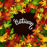 Autumn card, colorful leaves and handwritten lettering Stock Photos