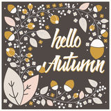 Autumn card design with floral frame and typographical message Stock Photography