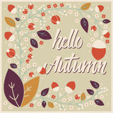 Autumn card design with floral frame and typographical message Royalty Free Stock Image