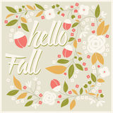 Autumn card design with floral frame and typographical message Stock Images