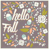 Autumn card design with floral frame and typographical message Royalty Free Stock Photo