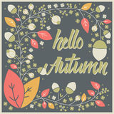 Autumn card design with floral frame and typographical message Royalty Free Stock Photography