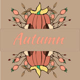 Autumn Card. Card devoted to Autumn with pumpkin Stock Photos