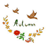 Autumn Card with ducks. Flowers and leaves Stock Photography