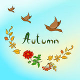Autumn Card with ducks Royalty Free Stock Photography
