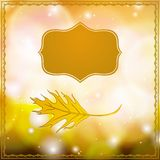 Autumn card with falling leaf and bokeh lights. Vector illustration of a leaf and ornamental frame on abstract gold bokeh background. Modern drawing for autumn Stock Image