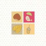 Autumn card with four symbols Royalty Free Stock Image