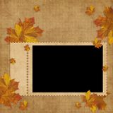 Autumn card for the holiday  with leave Royalty Free Stock Photography