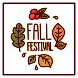 Autumn card with Inscription `Fall Festival`. Leaves and berries on a white background. It can be used for a site, article, invitation cards, brochures, poster Royalty Free Stock Photography