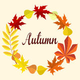 Autumn card With Leaves Stock Photo