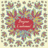 Autumn card with maple leaves and quote in French language `Bonjour, l`automne! `. Text translation: `Hello autumn!`. Text can be replaced Royalty Free Stock Photo