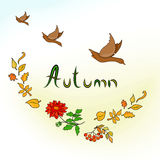 Autumn Card mit Enten Stockfotografie