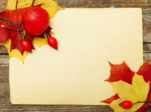 Autumn card - paper with leaf Royalty Free Stock Images