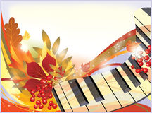 Autumn card with piano. Stock Image