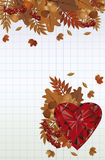 Autumn card with ruby heart, vector Stock Images