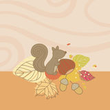 Autumn Card with Squirrel Stock Photo
