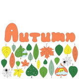Autumn card template. Card template with doodle autumn nature hand drawn elements: leaves, rain drops, spiderweb, clouds, lettering. For greeting cards Royalty Free Stock Images